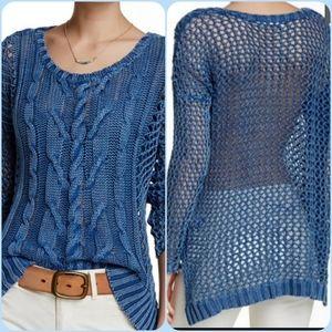 Volcom high/low crocheted knit Fishin Sweater M